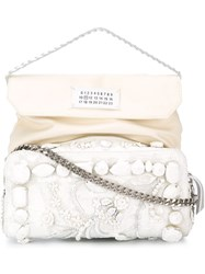Maison Martin Margiela Maison Margiela Embellished Shoulder Bag White
