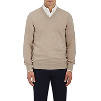 Fioroni Men's Cashmere V Neck Sweater Tan