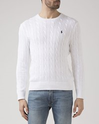 Polo Ralph Lauren White Cable Knit Cotton Sweater