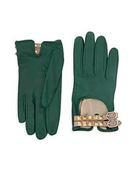 Valentino Studded Buckled Leather Gloves Green