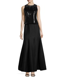Halston Heritage Beaded Two Piece Gown Black