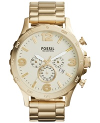 Fossil Men's Chronograph Nate Gold Tone Stainless Steel Bracelet Watch 50Mm Jr1479