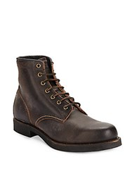 Frye Arkansas Lace Up Leather Boots Chocolate