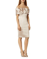 Karen Millen Frill Off The Shoulder Pencil Dress Nude