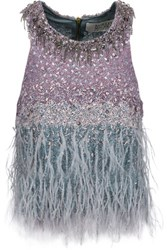 Badgley Mischka Feather Trimmed Embellished Tulle Top Gray