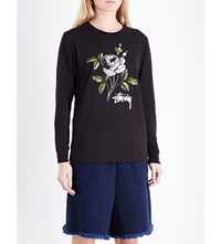 Stussy Rose Print Cotton Jersey Top Black