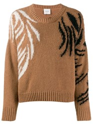 Alysi Embroidered Detail Sweaterlong Sleeve Brown