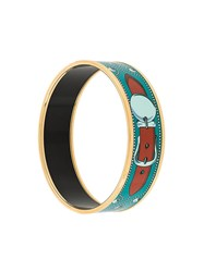Hermes Vintage Belt Print Bangle Blue