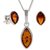 Be Jewelled Marquise Amber Stud Earrings And Pendant Necklace Jewellery Gift Set Cognac