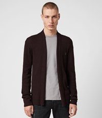 Allsaints Mode Merino Open Cardigan Dark Red
