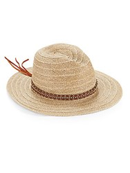 San Diego Hat Co. Studded Faux Leather Accented Hat Natural