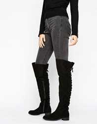 Office Hop Lace Back Flat Over The Knee Boots Black Micro Suede