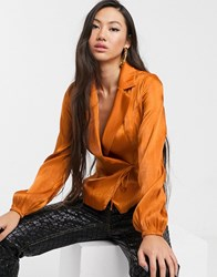 Glamorous Tailored Blouse With Tie Front In Luxe Satin Brown