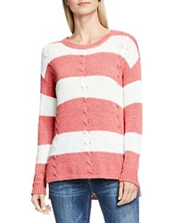 Vince Camuto Cable Knit Striped Pullover Red