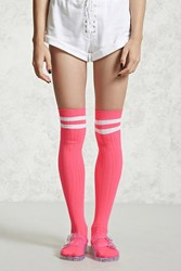 Forever 21 Neon Varsity Over The Knee Socks Neon Pink White