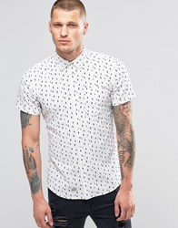 Blend Of America Short Sleeve Slim Shirt Diamond Print Off White