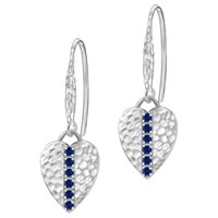 Dower And Hall Lumiere Sterling Silver Heart Sapphire Drop Earrings Silver Blue