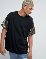 Asos Super Oversized T Shirt In Heavyweight Jersey With Sequin Sleeves Black