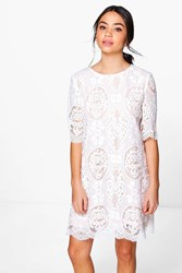 Boohoo Crochet Lace Short Sleeve Shift Dress Ivory