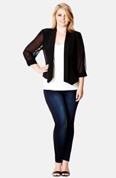 Plus Size Women's City Chic Chiffon Sleeve Blazer Black