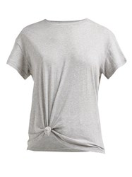 Frame Knotted Cotton T Shirt Grey