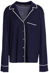 N.Peal Cashmere And Silk Blend Pajama Shirt Navy