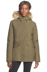 Helly Hansen 'Eira' Waterproof Jacket With Faux Fur Hood Olive Night