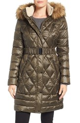 Laundry By Design Women's Faux Fur Trim Quilted Puffer Coat Dark Forest