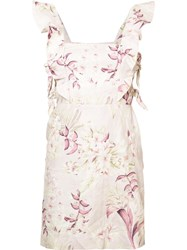 Zimmermann Floral Print Pleated Trim Dress Pink Purple