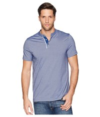 Perry Ellis Essential End On End Henley Tee Bright Sapphire T Shirt Blue