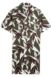 Marni Printed Cotton And Linen Blend Twill Shirt Dress Army Green