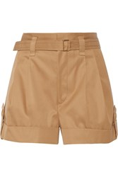 Marc Jacobs Pleated Cotton Twill Shorts Brown