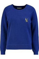 Sandro Stana Cheetah Appliqued Cotton Sweater Blue