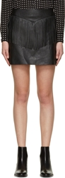 Saint Laurent Black Leather Fringe Mini Skirt