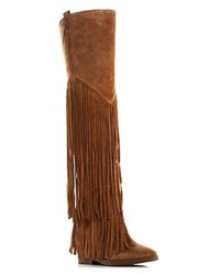 Ash Gipsy Fringe Over The Knee Hidden Wedge Boots Russet