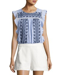 Veronica Beard Cece Sleeveless Embroidered Striped Poplin Top Blue White Blue White