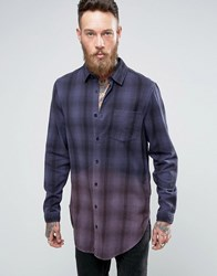 Asos Oversized Check Shirt In Super Longline With Dip Dye Navy