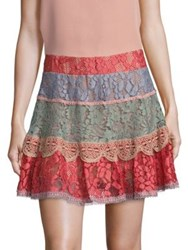 Alexis Zowie Tiered Lace Mini Skirt Multicolor