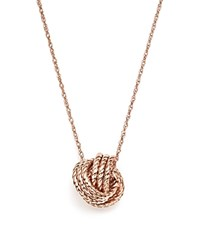 Bloomingdale's 14K Rose Gold Twisted Love Knot Necklace 18 100 Exclusive