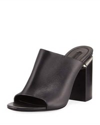 Alexander Wang Avery Leather Block Heel Mule Sandal Black