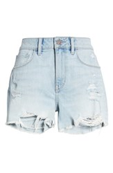 Treasure And Bond High Waist Boyfriend Cutoff Shorts Gravel Light Destroy