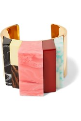 Stella Mccartney Gold Tone Resin And Faux Wood Cuff Metallic