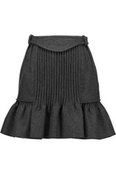 Isabel Marant Kern Pintucked Wool Blend Mini Skirt Charcoal