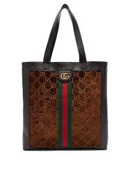Gucci Ophidia Web Stripe Leather And Velvet Tote Bag Brown Multi