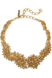 Oscar De La Renta Gold Plated Swarovski Crystal Necklace One Size