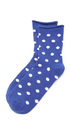 Plush Dot Rolled Fleece Sock Cobalt