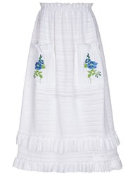Flow The Label White Flower Embroidered Midi Skirt