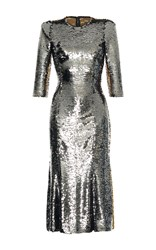 Dolce And Gabbana Bicolor Paillet Dress Metallic