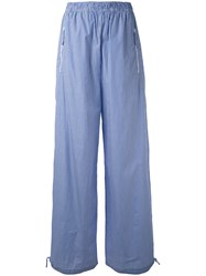 Ports 1961 Striped High Waisted Trousers Women Cotton 40 Blue