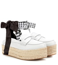 Miu Miu Leather Platform Loafers White